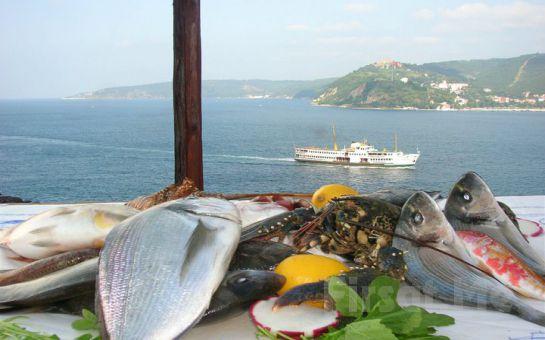 Muhteşem Boğaz Manzarası Eşliğinde Balık Keyfi! (Ordövr, Ara Sıcak, Salata, Mevsim Balığı, Tatlı, İçeçek, Sınırsız Çay ve Kahve)