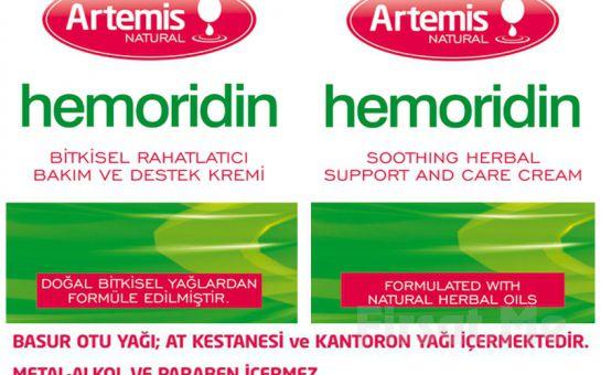 Hemoroid Kabusunuz Olmasın! Artemis Natural'den Tamamen Doğal HEMORIDIN Krem!