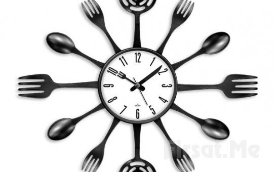 Mutfağınız İçin Şık Tasarım Akrilik Boyalı Çatal Kaşık Duvar Saati