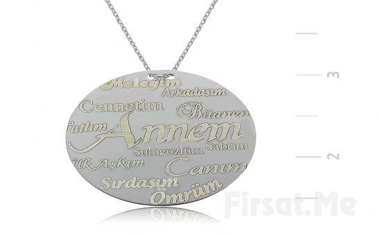 GUMUSH 925 Annelere Özel Plaka Gümüş Kolye (Ücretsiz Kargo)