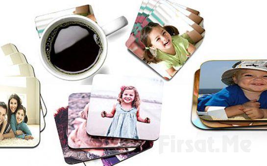 Selfieleriniz ve Fotoğraflarınız Bardak Altlığı Olsun Kişiye Özel 4'lü Bardak Altlığı Seti