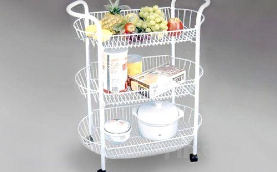 Şıklığıyla Mutfağınızı Güzelleştiren Tekerlekli 3 Katlı Raflı Etejer!