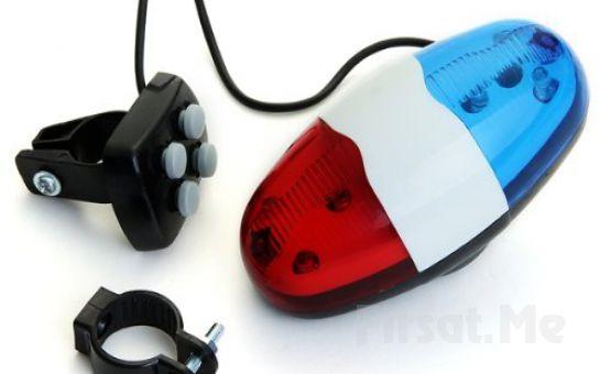 4 Tone Düdük, Kırmızı ve Mavi Polis Işık Lamba Elektrik Horn İle Bisiklet Sürme Keyfi
