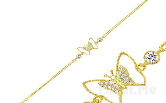 Şıklığınızın Tamamlayıcısı GUMUSH 925 Zirkon Taşlı Altın Kaplama Kelebek Bileklik