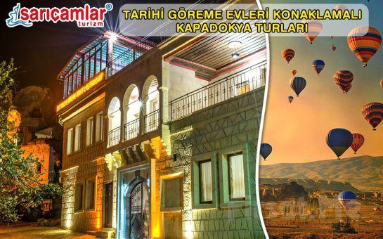 Tarihi Göreme Evlerinde 1 Gece Konaklama, Tur, Türk Gecesi ve Balon Turu Seçenekleri!
