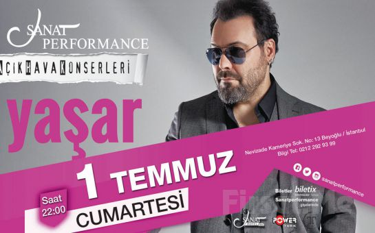Beyoğlu Sanat Performance'ta 1 Temmuz'da YAŞAR Açık Hava Konseri Giriş Bileti!