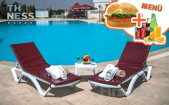 5 Yıldızlı Kocaeli The Ness Termal Otel'de Günübirlik Açık Havuz Kullanımı, Şezlong ve Şemsiye Kullanımı, Hamburger Menü ve 1 Adet Meşrubat