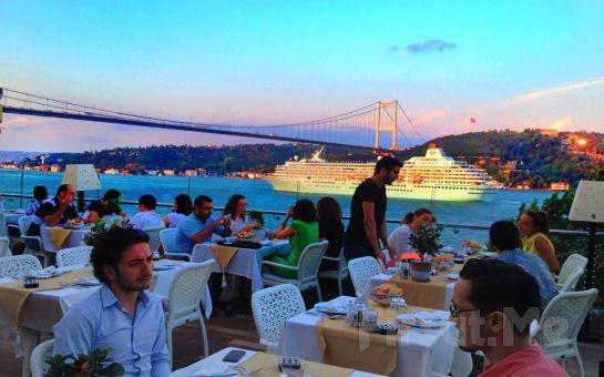 Muhteşem Boğaz Manzaralı Rumeli Hisarı Seyir Terrace Restaurant'ta, Açılış Galası Dahil Canlı Müzik ve Fasıl Eşliğinde Leziz Meyhane Menüsü!