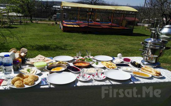 Polonezköy Mimoza Park'ta Yemyeşil Doğa İçerisinde Semaverde Çay Eşliğinde Organik Serpme Köy Kahvaltısı