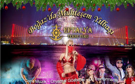Boğaz'da Teknede Muhteşem Yılbaşı Balosu Eftelya Tekne Turu'ndan Boğaz'da Yemekli ve Müzikli Yılbaşı Balosu