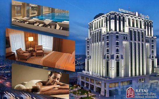 5 Yıldızlı Güneşli Retaj Royal İstanbul Hotel'de 2 Kişilik SPA Kullanımı Dahil Masaj & Romantik Konaklama Paketleri