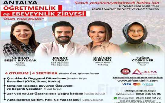 'İlham Veren Fikirler' Antalya Öğretmenlik ve Ebeveynlik Zirvesi Katılım Bileti