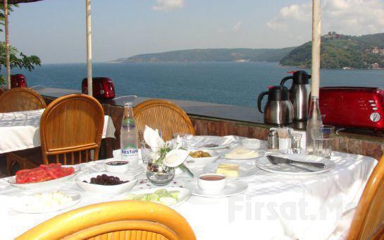 Muhteşem Boğaz manzarası eşliğinde Serpme Köy Kahvaltısı, Sahanda Yumurta, Sınırsız Çay