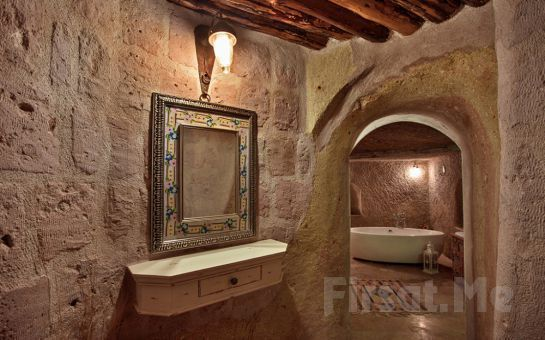Öykü Evi Cave Hotel Cappadocia'da Jakuzili, Şömineli ve Özel Teraslı Odalarda Çift Kişi Konaklama ve Kahvaltı Seçenekleri