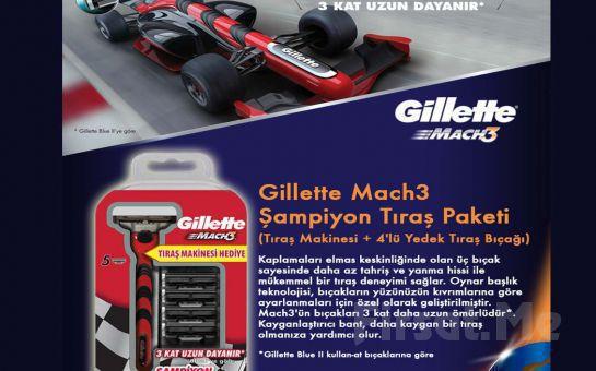 Sinek Kaydı Tıraş İçin Gillette Mach3 Şampiyon Tıraş Paketi (Tıraş Makinesi, 4'lü Yedek Tıraş Bıçağı) Fırsatı