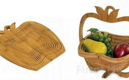 Evinizde Bambu Şıklığı! Kesme Tahtası Olabilen Bambu Meyve Sepeti!