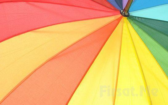 Yağmurda Islanmaya Son Rengarenk Gökkuşağı Şemsiye