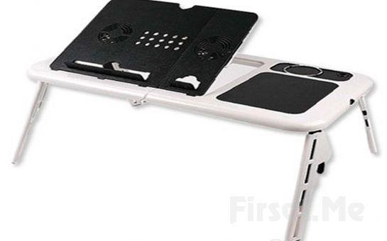Katlanabilir Soğutuculu Bardak Hazneli Laptop Masası