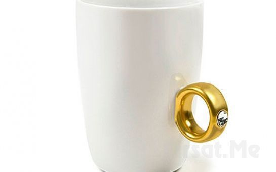 Sevgilisini Şaşırtmak İsteyenlere Tektaş Yüzüklü Porselen Kupa Bardak
