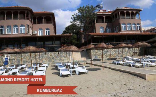 Kumburgaz Diamond Resort Hotel'de Açık Büfe Kahvaltı Dahil 2 Kişi 1 Gece Konaklama Keyfi Akşam Yemeği Seçeneğiyle