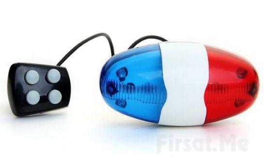 4 Tone Düdük & Kırmızı ve Mavi Polis Işık Lamba Elektrik Horn İle Bisiklet Sürme Keyfi!