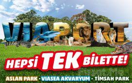 Viaport Marina Tuzla'da Aslan Park + Viasea Akvaryum + Timsahpark veya Temapark Bileti